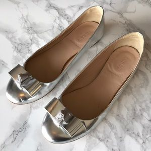 J. Crew Maddie Silver Leather Ballet Flats